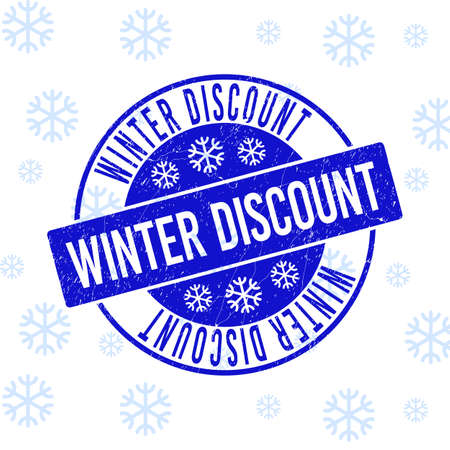 Winter Discount round stamp seal on winter background with snowflakes. Blue vector rubber imprint with Winter Discount text with unclean texture for Xmas.