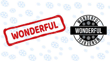 Wonderful stamp seals on winter background with snow in clean and draft versions for Christmas. Red vector rubber imprint with Wonderful text with dust texture in draft rectangle shape.