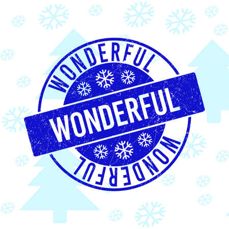 Wonderful round stamp seal on winter background with snow. Blue vector rubber imprint with Wonderful text with dust texture for Xmas. Scratched text seal imprint with distress texture. Illustration