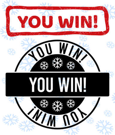 You Win! stamp seals on winter background with snowflakes in clean and draft versions for Xmas. Red vector rubber imprint with You Win! text with scratched texture in draft rectangle shape.
