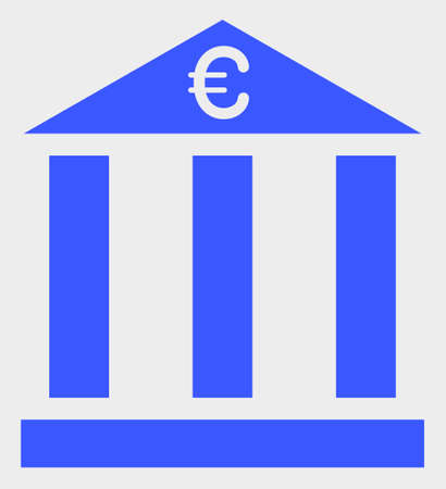 Euro Bank Building vector icon. A flat illustration design of Euro Bank Building icon on a white background. 向量圖像