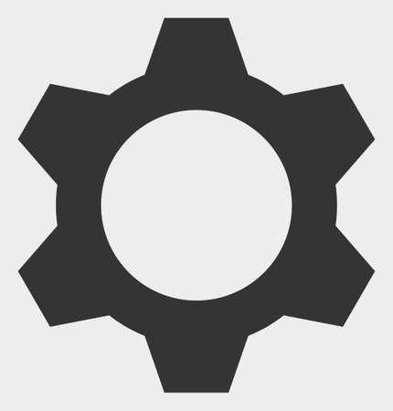 Illustrazione vettoriale di ingranaggio. Un design piatto illustrazione dell'icona a forma di ingranaggio su uno sfondo bianco.