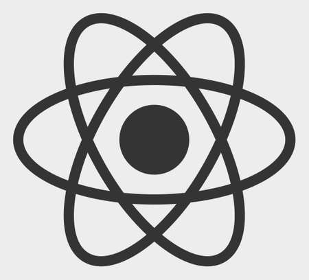 Atom raster illustration. A flat illustration design of Atom icon on a white background.
