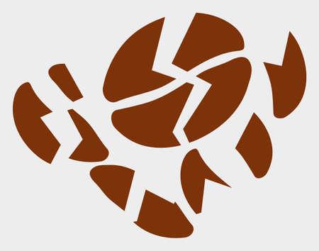 Coffee Bean Destruction raster illustration. A flat illustration design of Coffee Bean Destruction icon on a white background.