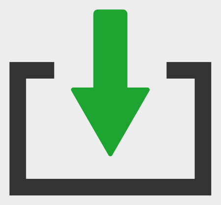 Download raster illustration. A flat illustration design of Download icon on a white background. Banco de Imagens