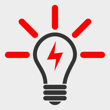 Electric Light Bulb raster icon. A flat illustration design of Electric Light Bulb icon on a white background.