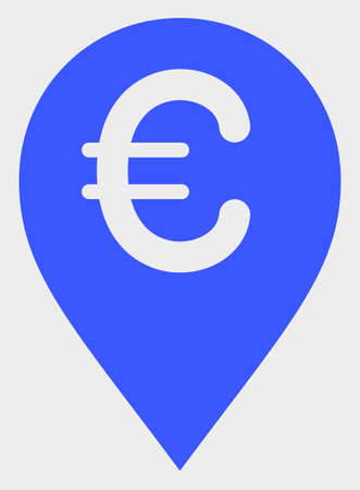 Euro Map Marker raster icon. A flat illustration design of Euro Map Marker icon on a white background. 스톡 콘텐츠