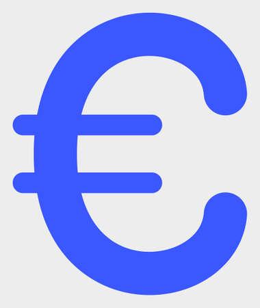 Euro Symbol raster illustration. A flat illustration design of Euro Symbol icon on a white background.