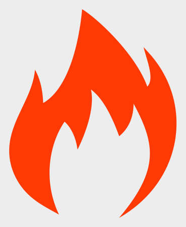 Fire Flame raster illustration. A flat illustration design of Fire Flame icon on a white background.