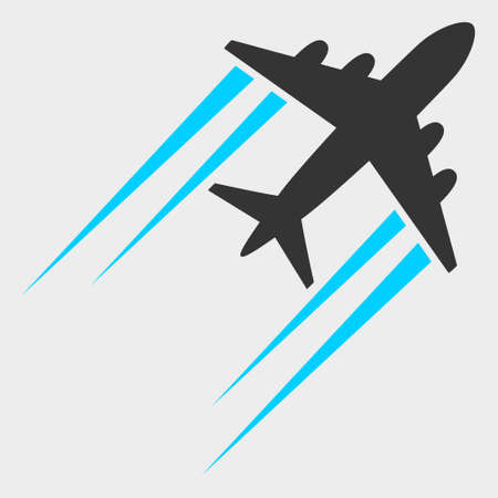 Flying Airplane Trace raster illustration. A flat illustration design of Flying Airplane Trace icon on a white background.
