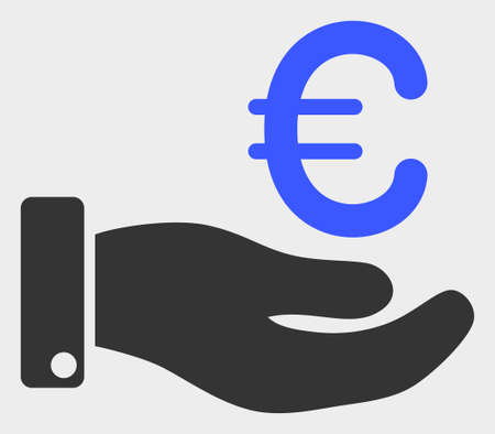 Hand Give Euro raster illustration. A flat illustration design of Hand Give Euro icon on a white background.