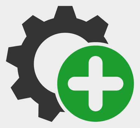 Add Settings Gear raster icon. A flat illustration design of Add Settings Gear icon on a white background.