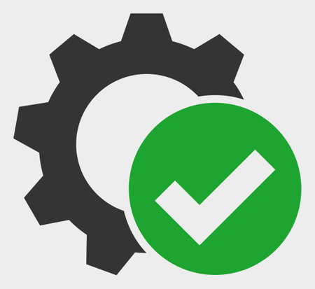 Apply Settings Gear raster icon. A flat illustration design of Apply Settings Gear icon on a white background. Stock Photo