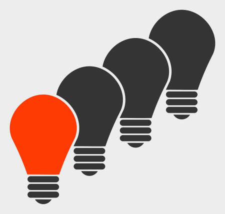 Lamp Bulbs raster illustration. A flat illustration design of Lamp Bulbs icon on a white background.