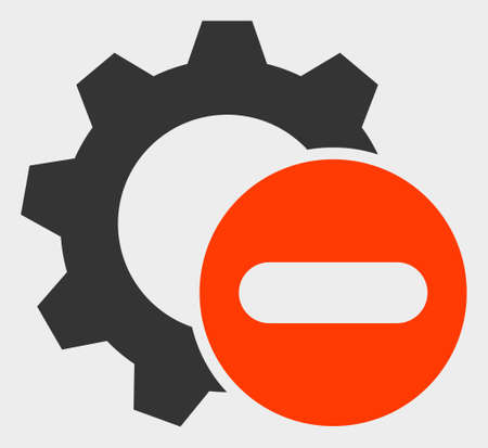 Remove Settings Gear raster icon. A flat illustration design of Remove Settings Gear icon on a white background.