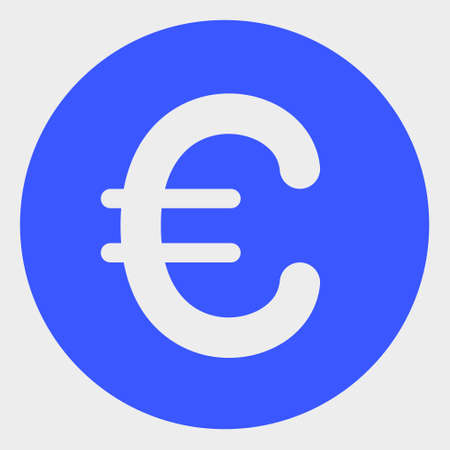 Rounded Euro raster icon. A flat illustration design of Rounded Euro icon on a white background.