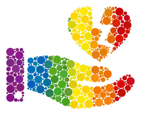 Hand offer broken heart collage icon of spheric blots in different sizes and spectrum bright color tones. A dotted LGBT-colored Hand offer broken heart for lesbians, gays, bisexuals, and transgenders.