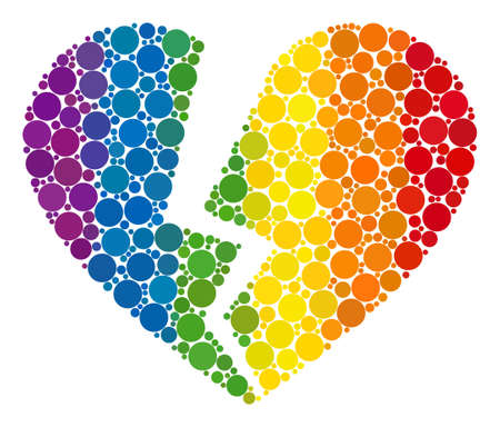 Broken love heart collage icon of circle spots in various sizes and rainbow colored color hues. A dotted LGBT-colored Broken love heart for lesbians, gays, bisexuals, and transgenders.