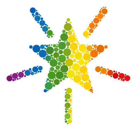 Bright star collage icon of round dots in variable sizes and spectrum multicolored color tinges. A dotted LGBT-colored Bright star for lesbians, gays, bisexuals, and transgenders.