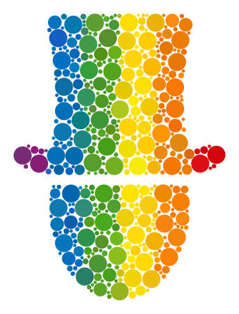 Hat man mosaic icon of circle elements in variable sizes and spectrum colored color tinges. A dotted LGBT-colored Hat man for lesbians, gays, bisexuals, and transgenders.