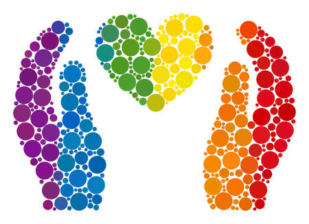 Love heart care hands mosaic icon of spheric blots in various sizes and spectrum colored color tints. A dotted LGBT-colored Love heart care hands for lesbians, gays, bisexuals, and transgenders.