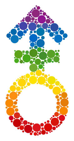 Third gender symbol collage icon of circle elements in variable sizes and spectrum colored color tones. A dotted LGBT-colored Third gender symbol for lesbians, gays, bisexuals, and transgenders.
