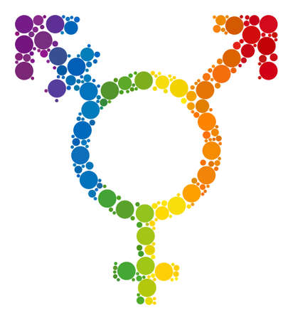 Three gender symbol composition icon of spheric blots in different sizes and spectrum color tints. A dotted LGBT-colored Three gender symbol for lesbians, gays, bisexuals, and transgenders.