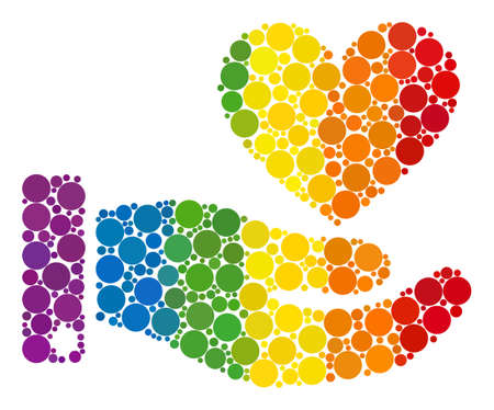 Hand offer love heart collage icon of circle spots in different sizes and spectrum colorful color tinges. A dotted LGBT-colored Hand offer love heart for lesbians, gays, bisexuals, and transgenders. 向量圖像