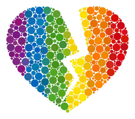 Broken heart composition icon of circle elements in various sizes and spectrum multicolored color tones. A dotted LGBT-colored Broken heart for lesbians, gays, bisexuals, and transgenders.
