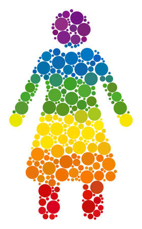 Old woman composition icon of spheric dots in various sizes and spectrum colored color tones. A dotted LGBT-colored Old woman for lesbians, gays, bisexuals, and transgenders.