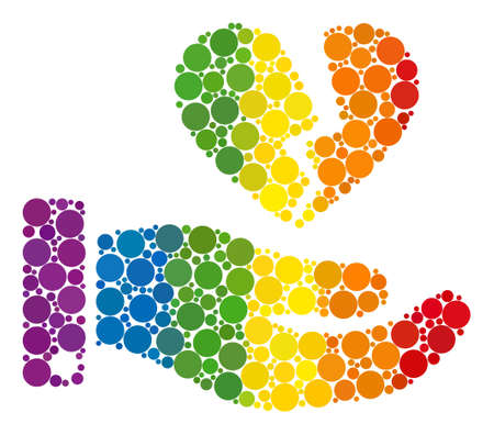Break heart offer composition icon of filled circles in different sizes and spectrum colored color tones. A dotted LGBT-colored Break heart offer for lesbians, gays, bisexuals, and transgenders.