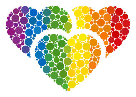 Love hearts composition icon of circle elements in various sizes and spectrum color tints. A dotted LGBT-colored Love hearts for lesbians, gays, bisexuals, and transgenders. Çizim
