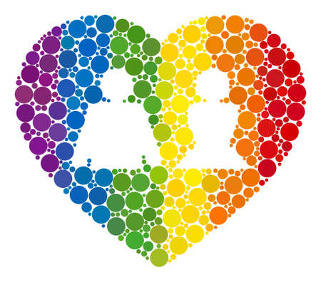 Love heart collage icon of filled circles in variable sizes and spectrum colored color tones. A dotted LGBT-colored Love heart for lesbians, gays, bisexuals, and transgenders.