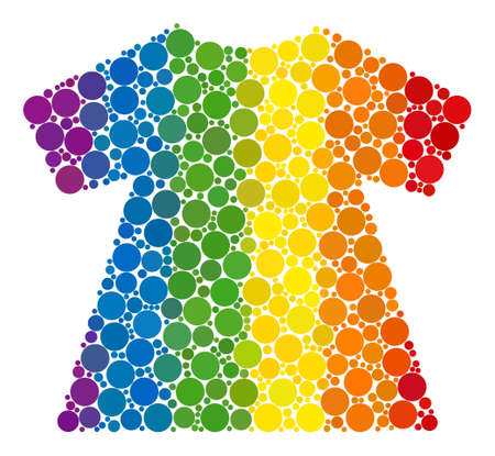 Lady dress collage icon of circle elements in variable sizes and rainbow bright color tints. A dotted LGBT-colored Lady dress for lesbians, gays, bisexuals, and transgenders.