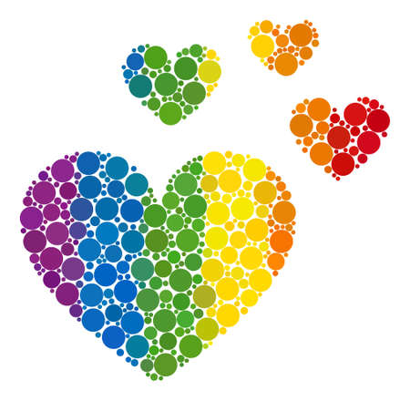Love hearts collage icon of spheric dots in different sizes and rainbow color tones. A dotted LGBT-colored Love hearts for lesbians, gays, bisexuals, and transgenders. Çizim