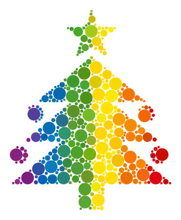Christmas tree composition icon of round dots in various sizes and rainbow color tints. A dotted LGBT-colored Christmas tree for lesbians, gays, bisexuals, and transgenders.