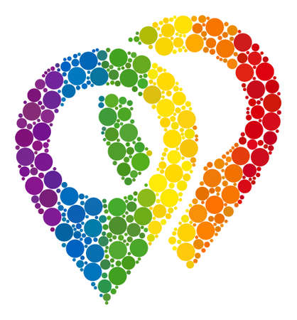 Map markers composition icon of spheric blots in different sizes and rainbow colored color tinges. A dotted LGBT-colored Map markers for lesbians, gays, bisexuals, and transgenders.