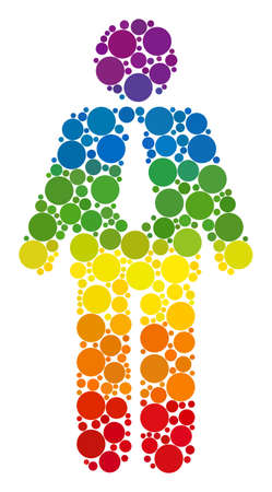 Groom composition icon of spheric blots in variable sizes and spectrum colored color hues. A dotted LGBT-colored Groom for lesbians, gays, bisexuals, and transgenders. Çizim