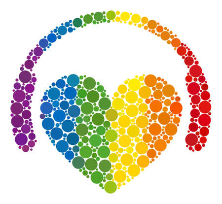 Love dj composition icon of filled circles in various sizes and rainbow color hues. A dotted LGBT-colored Love dj for lesbians, gays, bisexuals, and transgenders.