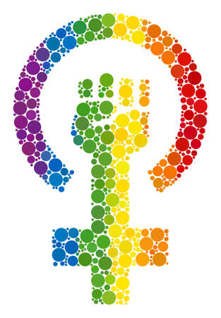Feminism symbol collage icon of circle elements in different sizes and rainbow colored shades. A dotted LGBT-colored Feminism symbol for lesbians, gays, bisexuals, and transgenders.
