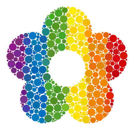 Flower collage icon of circle elements in different sizes and spectrum color tones. A dotted LGBT-colored Flower for lesbians, gays, bisexuals, and transgenders. Vector icon in LGBT flag colors.