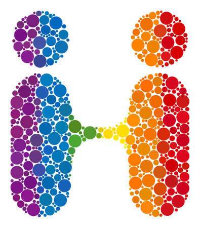 Siam twins people mosaic icon of round dots in variable sizes and spectrum colored color hues. A dotted LGBT-colored Siam twins people for lesbians, gays, bisexuals, and transgenders.