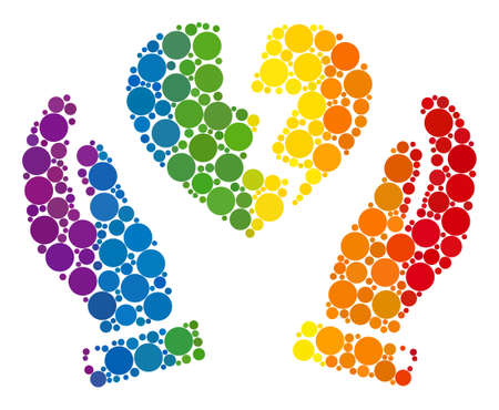 Broken heart protection hands mosaic icon of round dots in different sizes and spectrum color hues. A dotted LGBT-colored Broken heart protection hands for lesbians, gays, bisexuals, Çizim