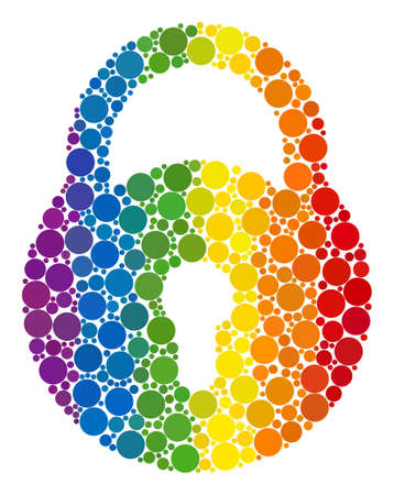 Lock composition icon of spheric blots in various sizes and rainbow colored color tints. A dotted LGBT-colored Lock for lesbians, gays, bisexuals, and transgenders. Vector icon in LGBT flag colors.