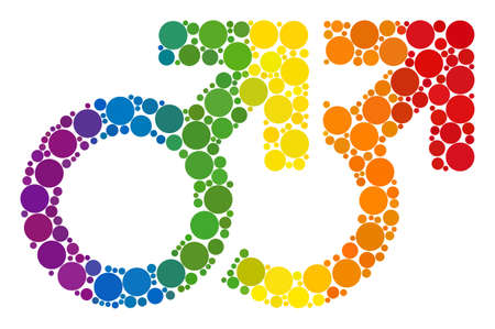 Gay couple symbol mosaic icon of circle spots in various sizes and spectrum color tinges. A dotted LGBT-colored Gay couple symbol for lesbians, gays, bisexuals, and transgenders.