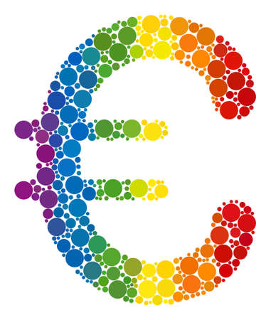 Euro symbol collage icon of circle elements in variable sizes and spectrum color tints. A dotted LGBT-colored Euro symbol for lesbians, gays, bisexuals, and transgenders. Ilustração