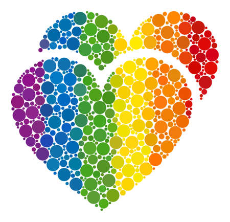 Love hearts mosaic icon of circle spots in variable sizes and spectrum color tones. A dotted LGBT-colored Love hearts for lesbians, gays, bisexuals, and transgenders. Çizim
