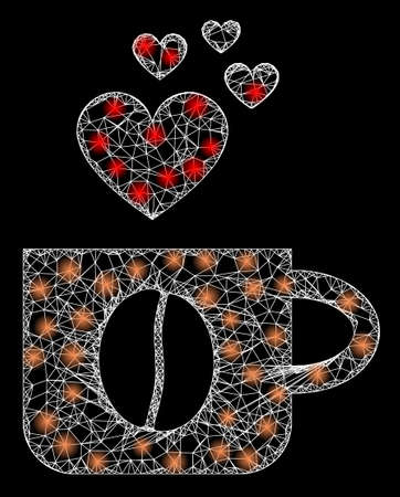 Bright web mesh love coffee cup with light spots. Illuminated vector 2d model created from love coffee cup icon. Sparkle frame mesh polygonal love coffee cup. Wire carcass 2D mesh in vector format,