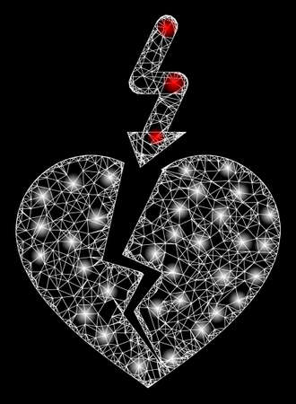 Glowing web net break heart with lightspots. Illuminated vector 2d constellation created from break heart icon. Sparkle frame mesh polygonal break heart. Wire frame 2D mesh in eps10 vector format,