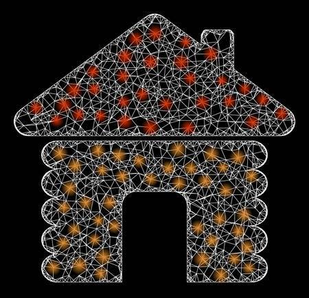 Glowing web net wooden house with light spots. Illuminated vector 2d constellation created from wooden house icon. Sparkle frame mesh polygonal wooden house. Wire frame 2D mesh in vector format,
